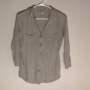 Express Greige Button Down Blouse Size Small
